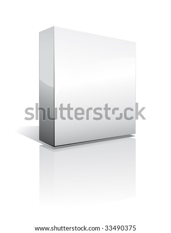 3D Box with reflection, Shadow and space for text or image