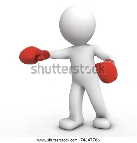 3d boxer isolated on white - stock photo