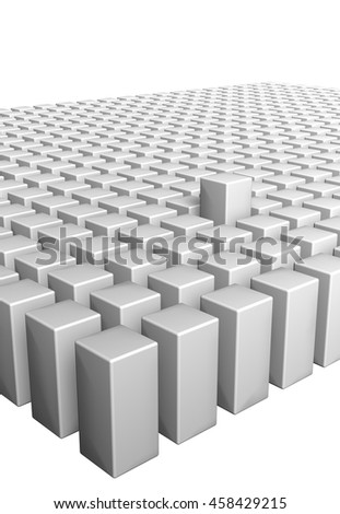 3D boxes field with outcropped piece on white background