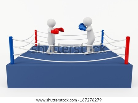 3D boxing match - stock photo