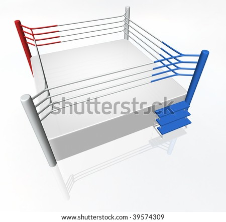 3D boxing ring with red and blue corner