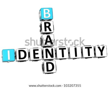 3D Brand Identity Crossword on white background - stock photo
