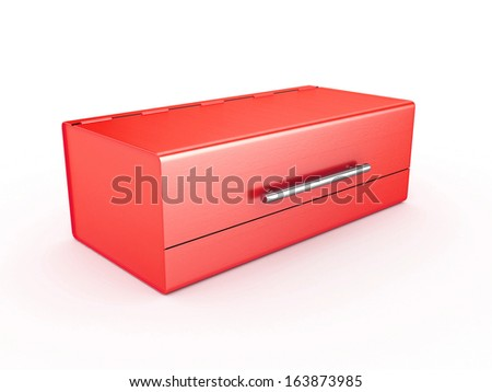 3d Bread Bin Red Color - isolated