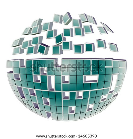 3D Breaking Mirror Ball Puzzle. See Vector In My Portfolio.