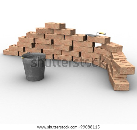 3d brick fragment with a bucket and a trowel on a white background isolated - stock photo