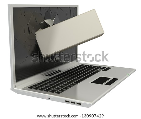 3D Brick laptop screen isolated on white background - stock photo