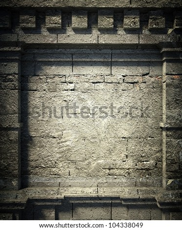3d brick wall background, antique architecture