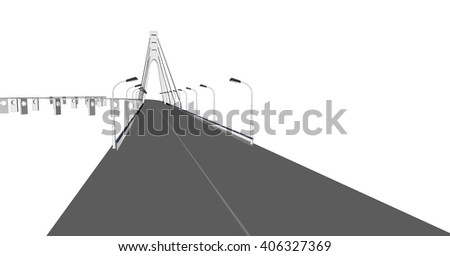 3D bridge, City buildings view illustration, buildings, bridges, on white  background. 3D arcitecture 2
