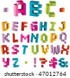 3d bright pixel alphabet, visit my portfolio to see vector variant - stock vector