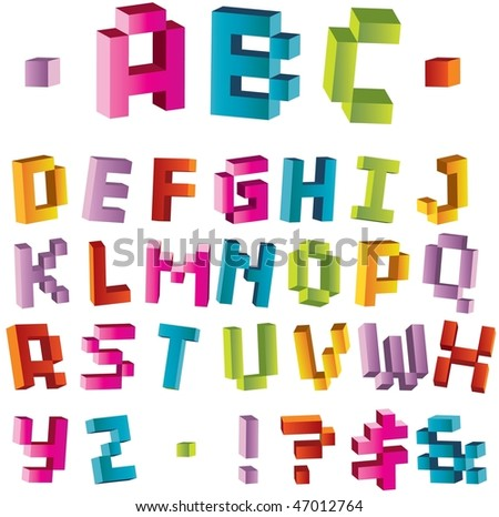 3d bright pixel alphabet, visit my portfolio to see vector variant - stock photo