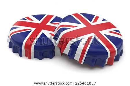 3d british crown caps on a white background