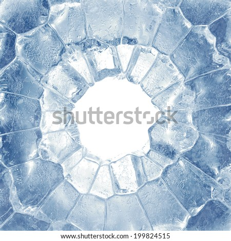 3d broken blue ice background, round hole, frame - stock photo