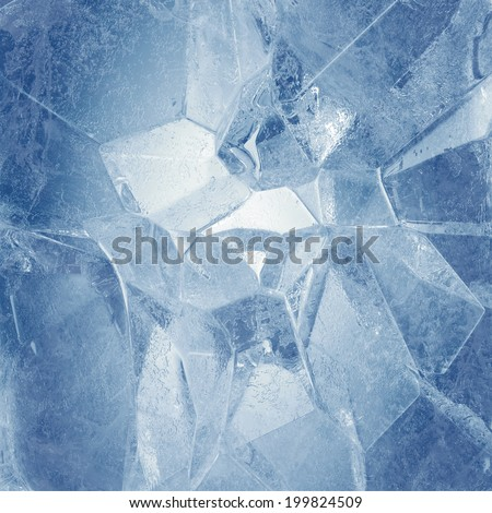 3d broken faceted blue ice background - stock photo
