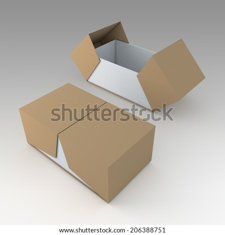 3D brown & white products packaging container box and open by swing lids option in isolated background with work paths, clipping paths included  - stock photo