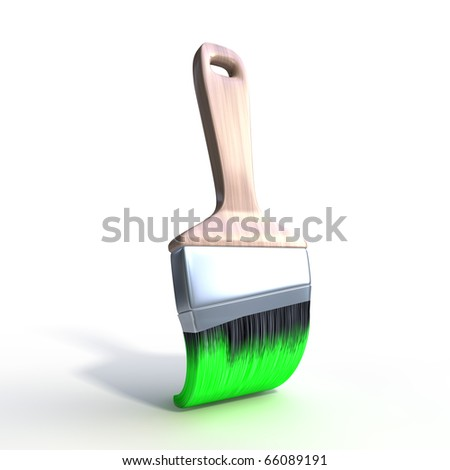 3d brush with green paint isolated on white background