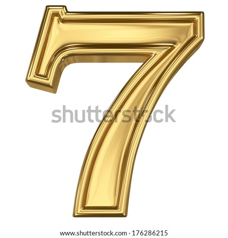 3d brushed golden symbol - figure number seven. Isolated on white. - stock photo