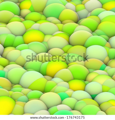 3d bubble balls backdrop in green yellow