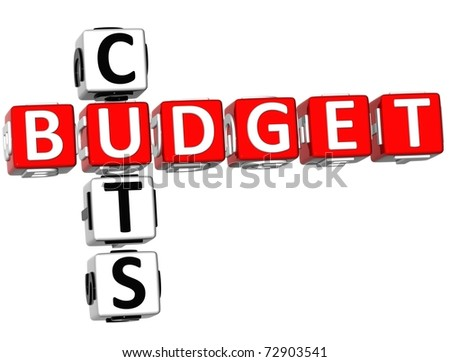 3D Budget Cuts Crossword on white background - stock photo
