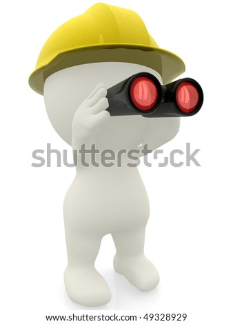 3D builder looking through binoculars isolated over a white background