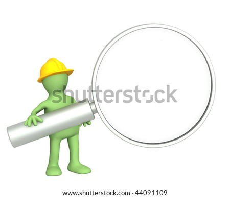 3d builder with loupe - over white - stock photo