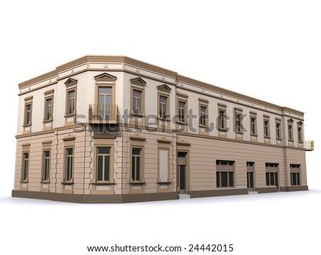 3d Building Corner Eclectic House - stock photo