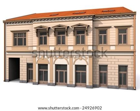 3d Building  Eclectic Renaissance House - stock photo
