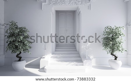 3d building entrance - clay render - stock photo