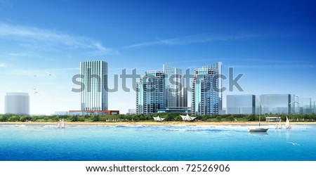 3d building landscape - stock photo