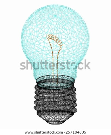 3d bulb icon - stock photo