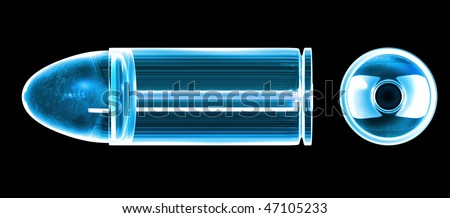 3d bullet made of blue glass - stock photo