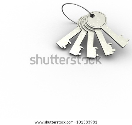 3d bunch of keys on a white background isolated - stock photo