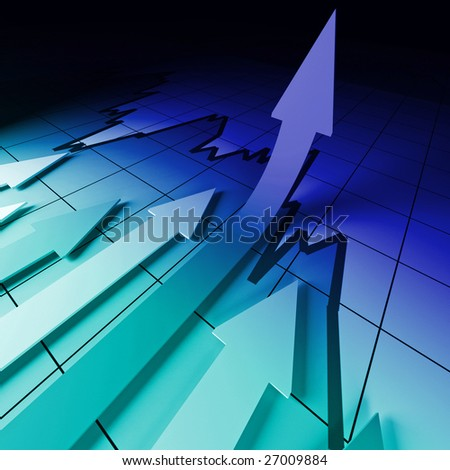 3d business background image, arrow on stat - stock photo