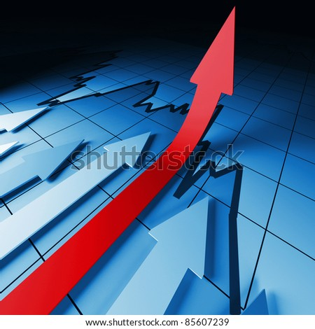 3d business background image, arrown on stat - stock photo