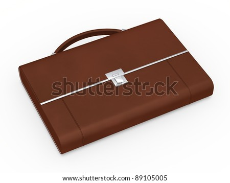 3d business bag briefcase brown and chrome