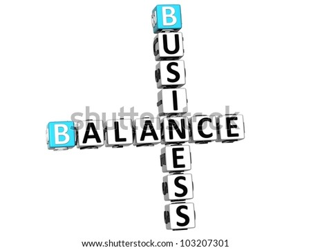 3D Business Balance Crossword on white background