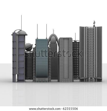 3d business buildings - stock photo