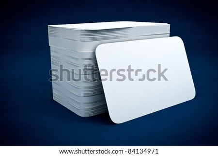 3d business calrd render on blue background - stock photo