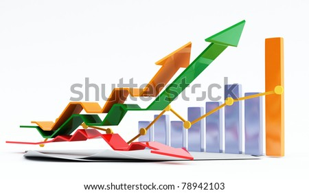 3d business chart - stock photo