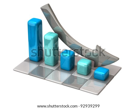3d business chart on white background - stock photo