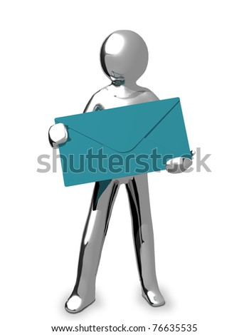 3D Business chrome man is holding a blue envelop in his hands - stock photo