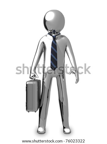 3D Business chrome man with a briefcase and a tie - stock photo
