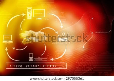 2d business cloud network - stock photo