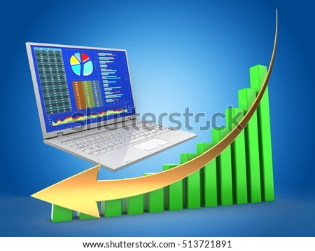 3d business computer and green chart