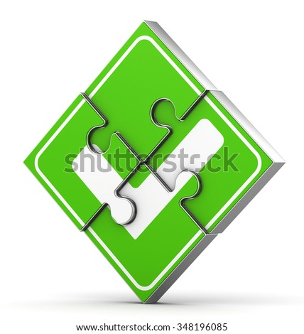 3d business concept. Check mark from puzzles - stock photo