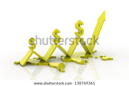 3d business concept dollar's value increase - stock photo