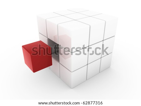 3d business cube white red isolated on white background - stock photo
