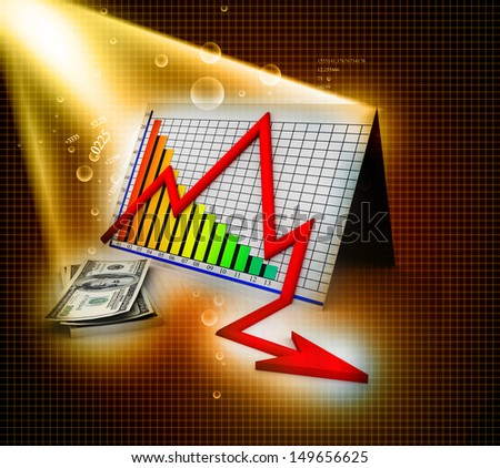 3D business decline graph and dollar  abstract background  - stock photo