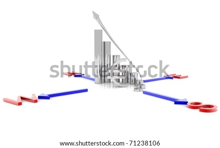 3d Business Graph and euro sign isolated on white background