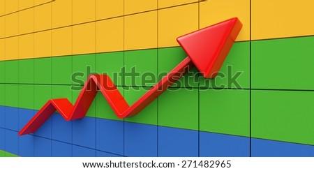 3D. Business, Graph, Chart. - stock photo