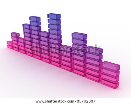 3D business graph diagram bars on white background - stock photo